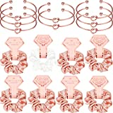 8 Pieces Satin Hair Scrunchies Bridal Shower Scrunchy Hairbands and 8 Pieces Bridesmaid Bracelets with I Can't Tie The Knot Without You Bridesmaid Cards (Rose Gold and White Scrunchies)
