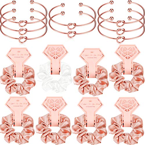 8 Pieces Satin Hair Scrunchies Rose Gold Bridal Shower Scrunchy Hairbands and 8 Pieces Bridesmaid Bracelets with I Can't Tie The Knot Without You Bridesmaid Cards