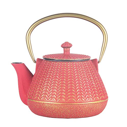 Cast Iron Tea Kettle, Japanese Tetsubin Teapot Coated with Enameled Interior, Durable Cast Iron Teapot with Stainless Steel Infuser (Red Bamboo Weave Pattern, 1000ml/34oz)