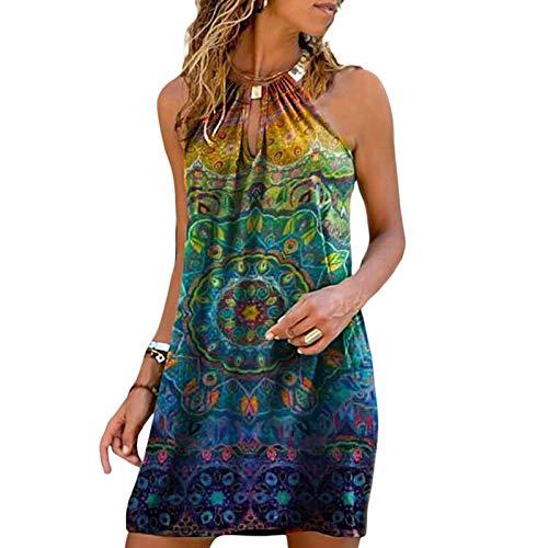 Vestido halter de verano para mujer, casual, sin mangas, mini vestidos Y2k, estampado bohemio, vestido de playa, ajuste holgado, vestido corto e vestido de niña