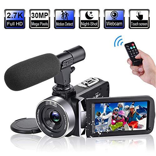 Videokamera Camcorder Full HD 2,7K 30FPS 30MP Vlogging Kamera 3,0 Zoll Touchscreen IR Nachtsicht Camcorder mit Mikrofon Digitale Videokamera mit Fernbedienung