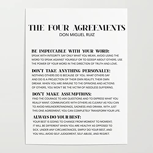 The Four agreements Metal Tin Sign Aluminum Signage Advertising Art Plaque Posters Retro Style Wall Stickers Hanging Pub Store Designs 8x12 Inch