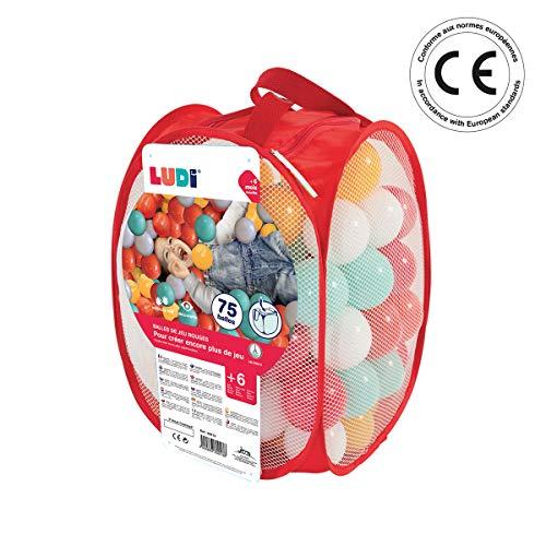 LUDI - Sac de 75 balles multicolores souples en plastique anti-écrasement. A partir de 6 mois. Balles à lancer, faire rouler et pour piscine à balles. Diamètre : 6 cm - réf. 30013
