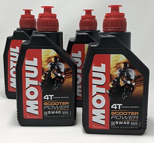 MOTUL Acete Motor Moto 4 Tiempos Scooter Power SAE 5W-40 MA, 4 litros (4x1 lt)