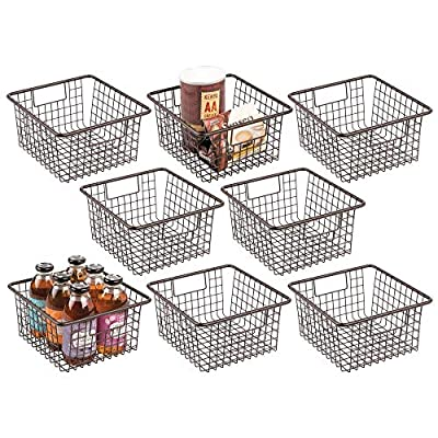 mDesign Farmhouse Decor Metal Wire Food Storage Organizer Bin Basket with Handles for Kitchen Cabinets, Pantry, Bathroom, Laundry Room, Closets, Garage - 8 Pack - Bronze by MetroDecor
