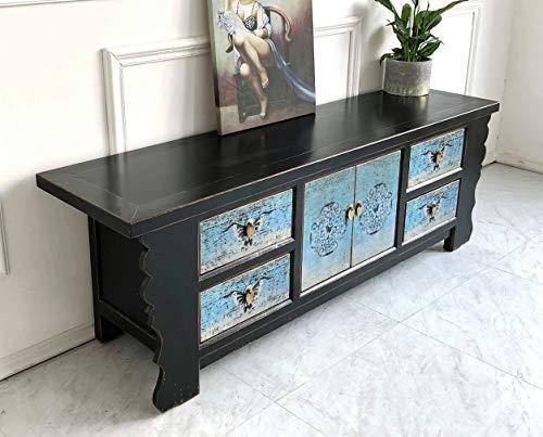 Vintage TV-Kommode Lowboard Shabby-chic Sideboard schwarz-türkis aus Holz für Wohnzimmer, Flur, Schlafzimmer