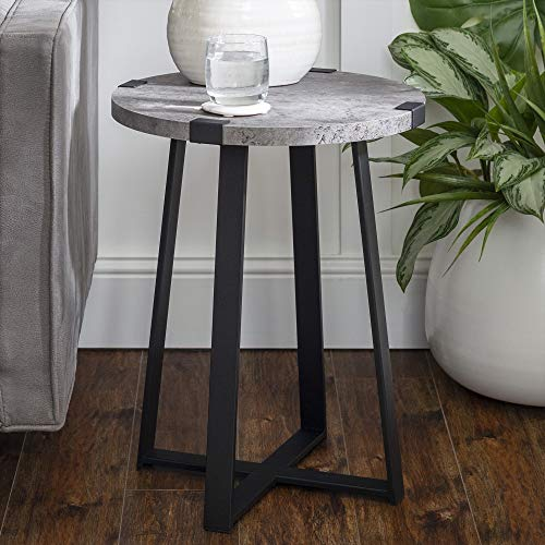Walker Edison Furniture Rustic Farmhouse Round Metal Side End Accent Table Living Room, 18 Inch, Dark Concrete