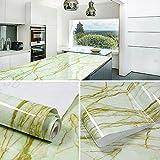 Wandfolie selbstklebend abwaschbar60cmx5m selbstklebende PVC-Aufkleber mit Marmormuster,Hintergr&tapete für Wohn- & Schlafzimmer,Anti-Öl-Aufkleber mit Dunstabzugshaube für die Küche-zwei&zwanzig