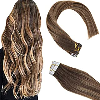 Sunny Tape in Hair Extensions 24 inch Remy Hair Dark Brown Fading to Caramel Blonde Mixed Brown Highlights Seamless Tape in Human Hair Extensions 20 pcs 50g