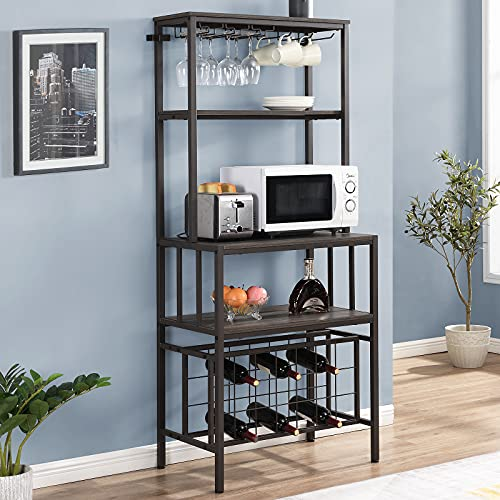 HOMYSHOPY Bakers Wine Rack, Industrial Bakers Rack with Wine Storage and Glass Holder, 4-Tier Microwave Oven Stand Wine Rack Table, Multifunctional Kitchen Storage Rack (Gray Finished, 70 Inch)