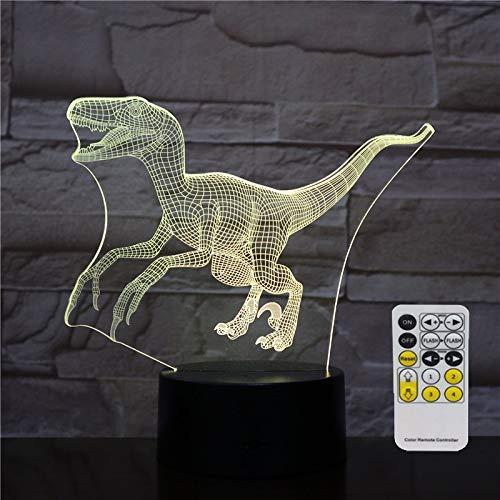 3d lampara de la noche dinosaurio Iluminación visual Ilusión óptica Luz de noche para niños Niños 7 colores cambiando con toque + control remoto
