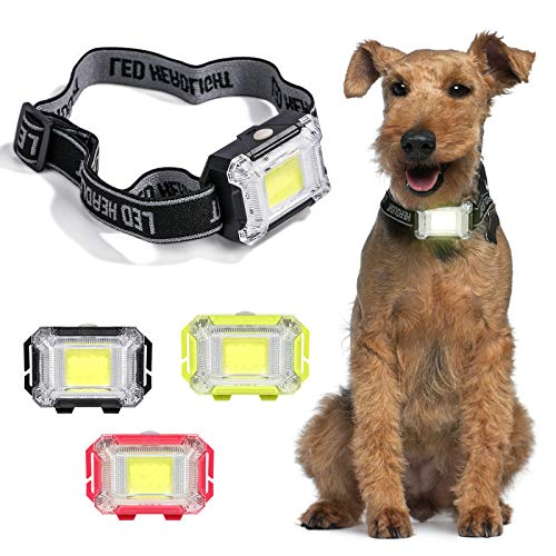 NVTED 3 Pack Dog LED Collar Light, 3 Flashing Model Bright Dog Safety Light with Adjustable Elastic Band for Night Walking & Outdoor Sport