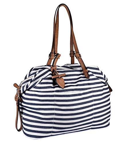 SIX Damen Handtasche, Shopper im maritimen Streifenlook, Verschluss mit goldenen Details (726-727)