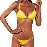 SHOBDW 2018 Nuevas Mujeres Push-up Bra Bikini Playa Set Traje de baño (Amarillo, S)