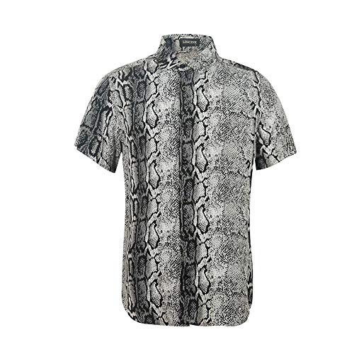 Men's Snakeskin Crocodile Animal 3D Printing Shirt Funny Graphic Short Sleeve Shirts Gray