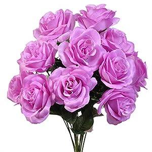 LINESS for 12 Faux 4″ Open Roses Bouquet Silk Flowers Wedding Centerpiece Decor Artificial DIY LINESS for Wedding Flowers, Petals & Garlands Floral Décor – Color is Lilac Lavender