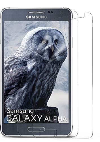 MoEx® Kristallklare HD Schutzfolie passend für Samsung Galaxy Alpha | Premium Bildschirmfolie - Kratzfest & Fast unsichtbar - Ultra Klar