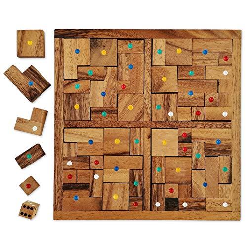 Les Maldives – Gesellschaftsspiel aus Massivholz und CE-Normen, für 2 bis 4 Spieler ab 4 Jahren zwischen Tétris® und dem Brettspiel aus Holz für mehrere Spieler. Französische Marke Le Délirant®.