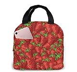 Fresas, reutilizable, aislado, bolsa de almuerzo, enfriador, caja de asas, preparación de comidas para hombres y mujeres, trabajo, picnic o viajes