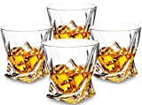 KANARS Twist Verre de Whisky - Lot de 4 - Set de Dégustation Whisky pour Scotch, Bourbon et Plus - 300 ml - Transparent