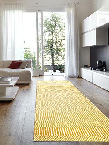 Benuta Teppiche: Moderner Designer Teppich Läufer Sloan Gelb 80x300 cm - schadstofffrei - 55% Wolle, 45% Baumwolle - Chevron/Zickzack - Flachgewebt - Flur/Diele