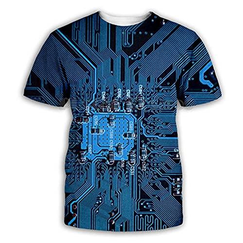 Camiseta De Manga Corta T-Shirt Camiseta con Estampado 3D De Verano para Hombre Camisetas Electrónicas De Hip-Hop del Universo Ropa para Hombre Camiseta De Poliéster Transpirable-Beige_XXL