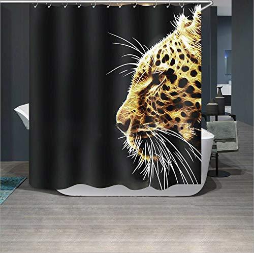 JYEJYRTEJ Schwarzer Hintergrundgoldener beschmutzter Leopard wild, Dekorativer Duschvorhang kann gewaschen und getrocknet Werden,10Haken,120X180cm,geeignet für Badezimmer voran anstarrend