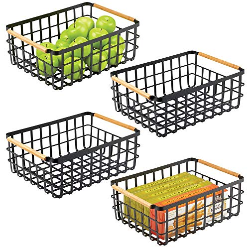 mDesign großer Allzweckkorb aus Metall – Aufbewahrungskorb für Küche, Vorratskammer etc. – kompakter und universeller Drahtkorb mit integrierten Bambusgriffen – 4er-Set – mattschwarz