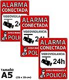 Pack de 3 Carteles Alarma Conectada | Placas Disuasorias A5...
