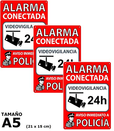 Pack de 3 Carteles Alarma Conectada | Placas Disuasorias A5 Interior/exterior Pvc...