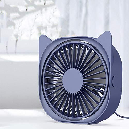 Draagbare Mini Persoonlijke USB Desk Fan 4 Ventilator Blades geruisloos 3 Speeds Verstelbare Fans, Blauw