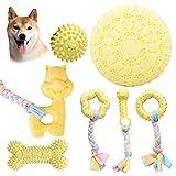 Juguetes para masticar cachorros, juego de 7 juguetes para masticar para perros, juguetes de limpieza de dientes de perros con bola y cuerdas de algodón para cachorros pequeños y medianos