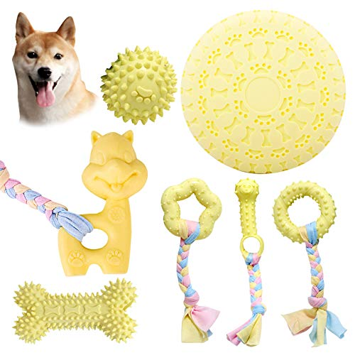 Giocattoli da masticare per cuccioli, 7 pezzi, giocattolo da masticare per dentizione per cani e cani di taglia media