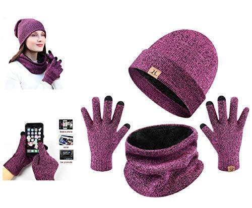 UMIPUBO Handschuhe Schal Mütze mit Fleecefutter Set Herren Wintermütze Touchscreen Handschuhe Beanie Warme Schal Strickmütze Unisex (Rose rot)