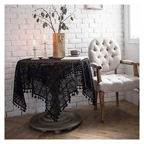 Yanqhua Manteles Pastora algodón Crochet Mantel rectángulo Negro Hueco Hecho a Mano Vintage Encaje Mesa Toalla Toalla para la decoración de la Cocina de casa (Color : Black, Specification : 60x60cm)