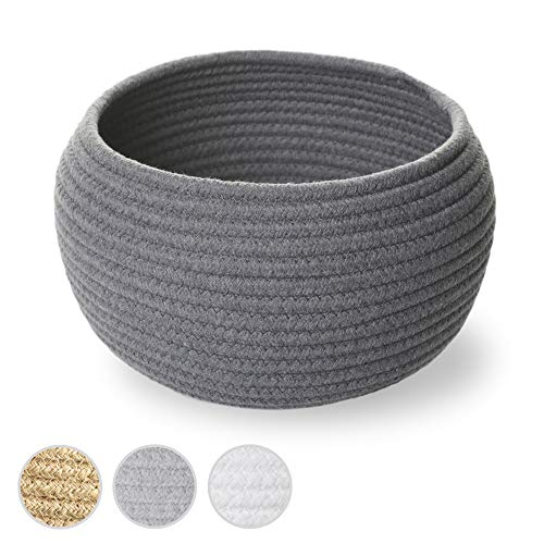 Small Cotton Rope Basket for Organizing & Decluttering - Gray 10'W x 6.5'H Dog Toy Basket & Pet Storage Bin, Unique Empty Gift Basket, Bathroom & Nursery Organization Bins to Keep Your Home Tidy