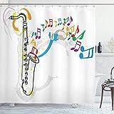 N\A Set de Cortinas de baño Jazz Music Decor, Tema del Festival Celebration Ilustraciones Coloridas con Notas Musicales y saxofón, Accesorios de baño Naranja Verde Rojo