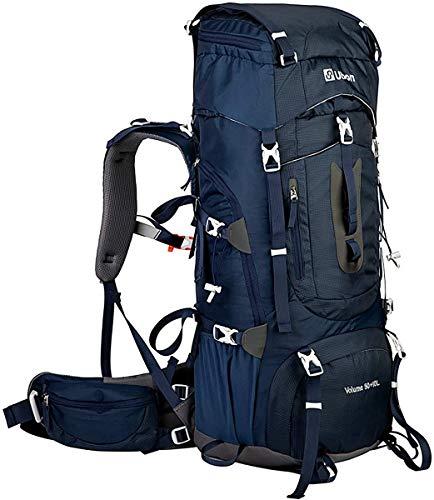 Ubon Framed Hiking Backpack with Rain Cover Backpacking Backpack 50+10L Blue