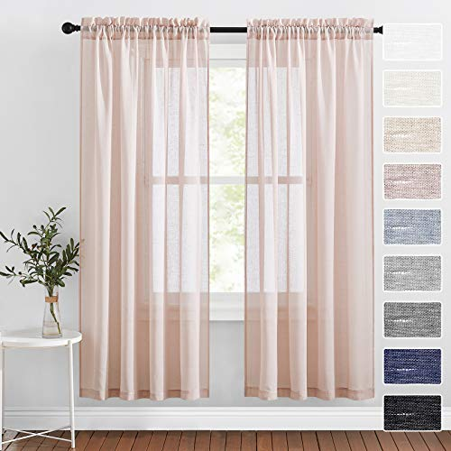 RYB HOME Pink Sheer Curtains - Soft Linen Semi Sheer Curtains Vertical Sense Light & Airy Window Covering for Living Room Bedroom Canopy Bed Party, Blush Pink, W 52 x L 72 inch, 1 Pair