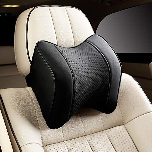 Raygis Car Pillow, Car Neck Support Pillow for Relieving Neck Fatigue, with Black Pu Leather and Memory Foam, Car Seat Headrest Cushion in Ergonomic Design(1 Pack)