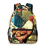 AOOEDM Sac à dos pour hommes, femmes, poules de poulailler et tournesols peinture sac à dos décontracté sac à dos d'école de voyage sac à dos