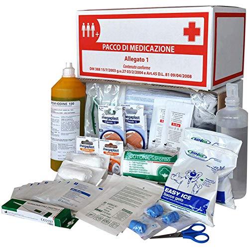 FIRSTMED - Kit di Reintegro Allegato 1 per Cassetta Pronto Soccorso senza Sfigmomanometro per Aziende con 3 o più lavoratori D.M. 388/2003 D.L n. 81/2008 - Made in Italy