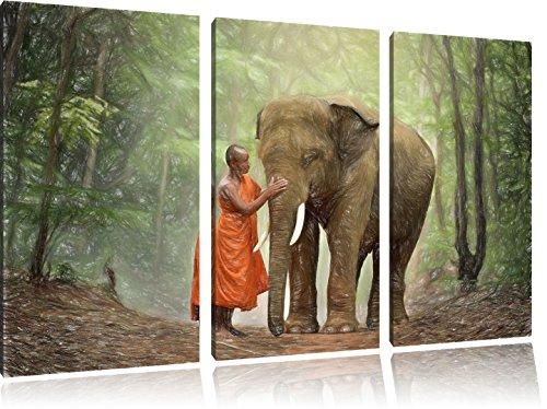 Pixxprint Elefant mit Mönch / 3-Teilig/Gesamtmaß 120cm Leinwandbild bespannt auf Holzrahmen/Wandbild Kunstdruck Dekoration