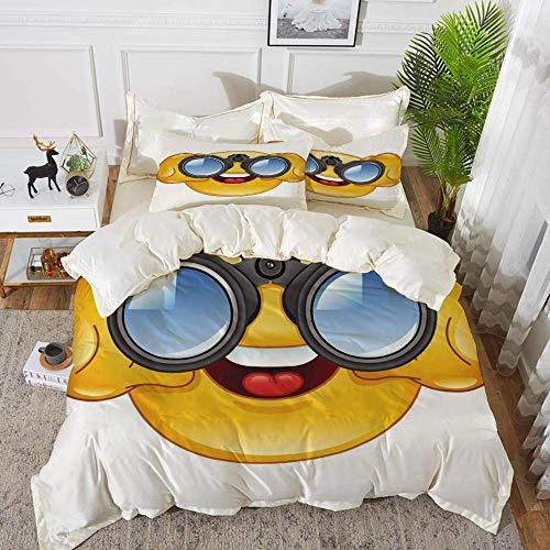 ropa de cama: juego de funda nórdica, emoji, carita sonriente con telescopio, binoculares, anteojos para mirar dibujos animados, Ye, juego de funda nórdica de microfibra hipoalergénica con 2 f