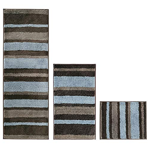 mDesign Stripes Microfiber Bathroom Shower Accent Rug, Spa, Standard & Short - Set of 3, Mocha/Gray