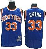 Jersey De Baloncesto para Hombre - NBA Retro New York Knicks # 33 Patrick Ewing Jersey, Camiseta Sin Mangas De Malla Transpirable Cómoda,Azul,M(170~175cm)
