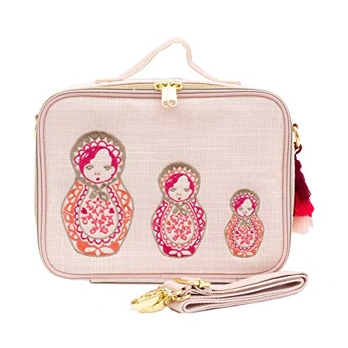 Soyoung, Lunch Box Embroidered Dolls Pink Linen