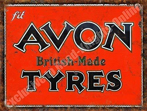 Avon Neumáticos Hecho En Gran Bretaña Oxidado Garaje Vintage Metal/Cartel De Acero Para Pared - acero, 20 x 30 cm