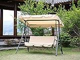Angel Living 3 Seater Garden Patio Swing Chair Swinging Hammock Canopy Cushioned Bench (Beige)