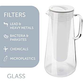 LifeStraw Home Water Filter Pitcher, Tested to Protect Against Bacteria, Parasites, Microplastics, Lead, Mercury, and a Variety of Chemicals